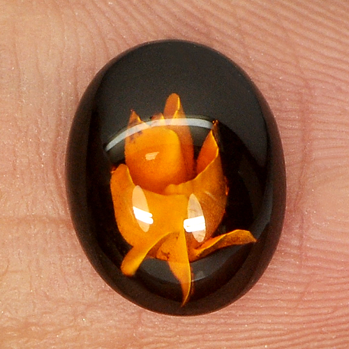 0.49 Ct. Flower Carving In Natural Brown Yellow Amber