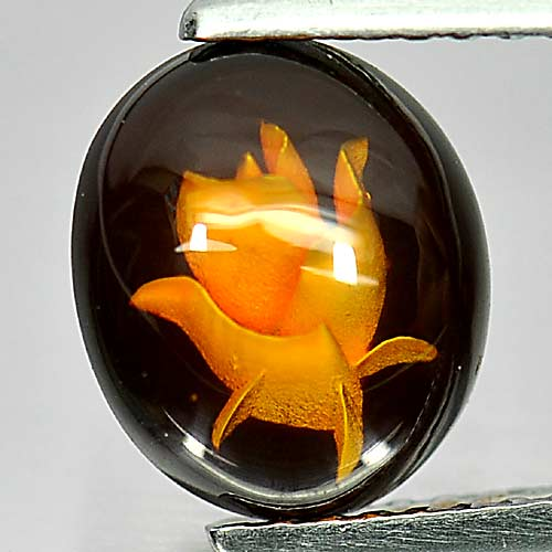 0.59 Ct. Alluring Oval Cab Natural Gem Flower Carving In Brown Yellow Amber