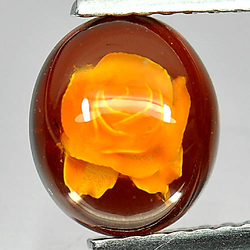 0.57 Ct. Good Oval Cab Natural Gem Flower Carving In Brown Yellow Amber