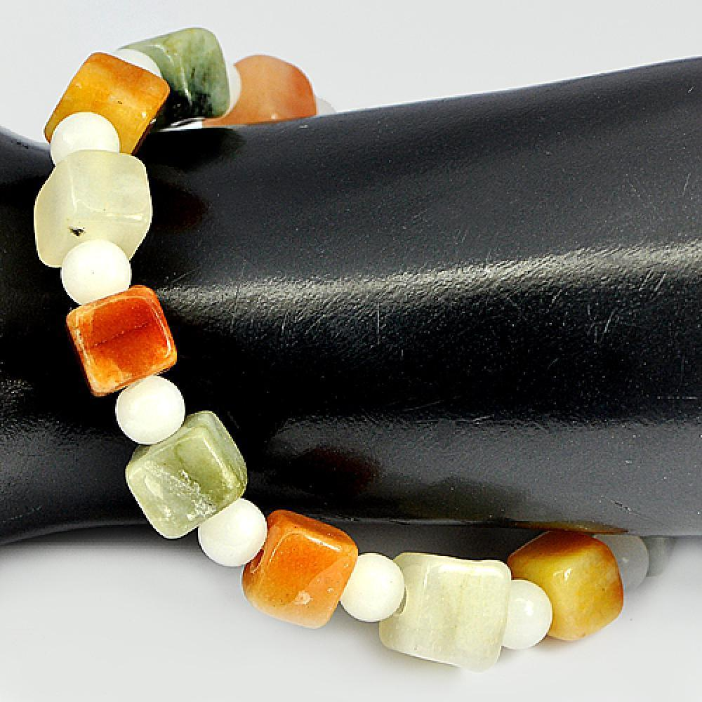 123.18 Ct. Natural Honey Jade Color Beads Bracelet Length 8 Inch.