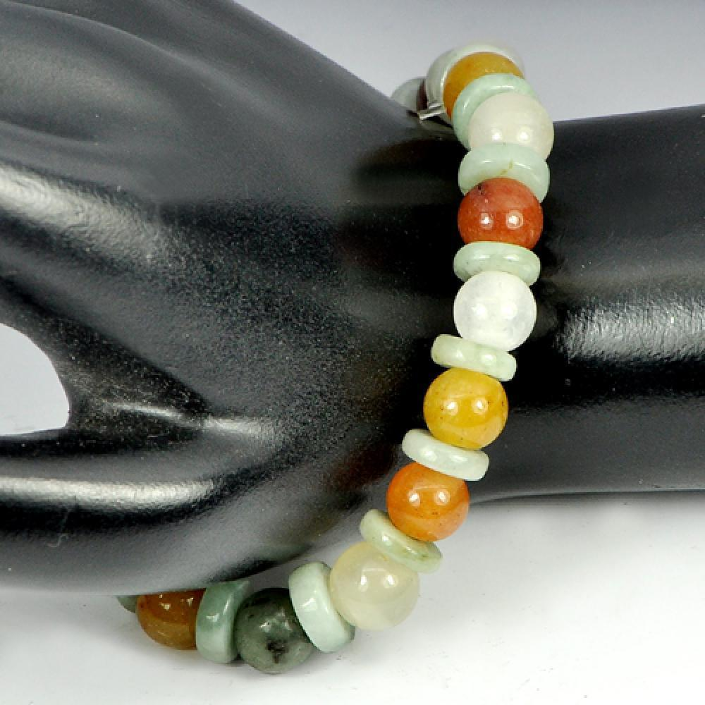 107.83 Ct. Natural Honey Color Jade Beads Bracelet Length 8 Inch.