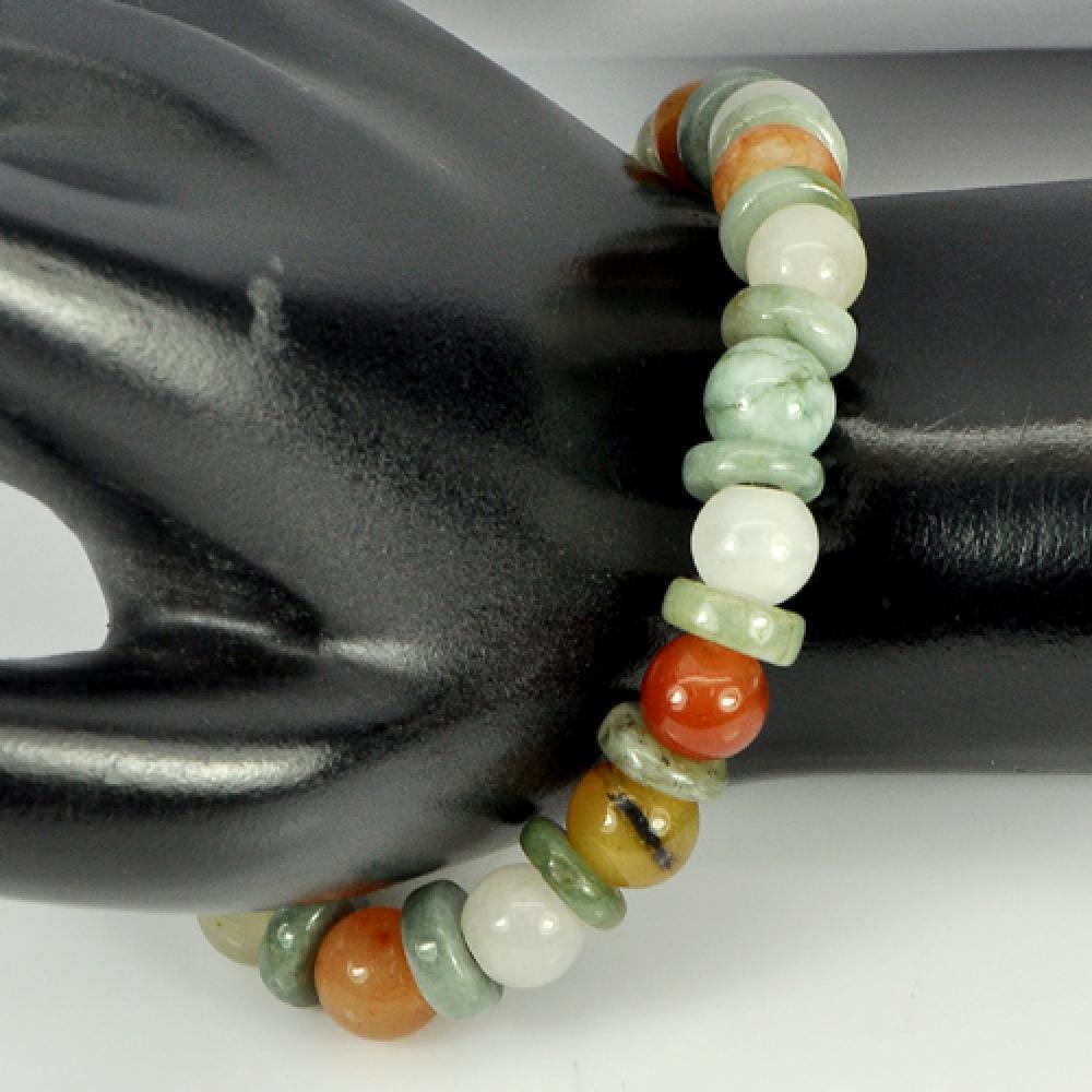 103.81 Ct. Natural Honey Jade Color Beads Bracelet Length 7 Inch.