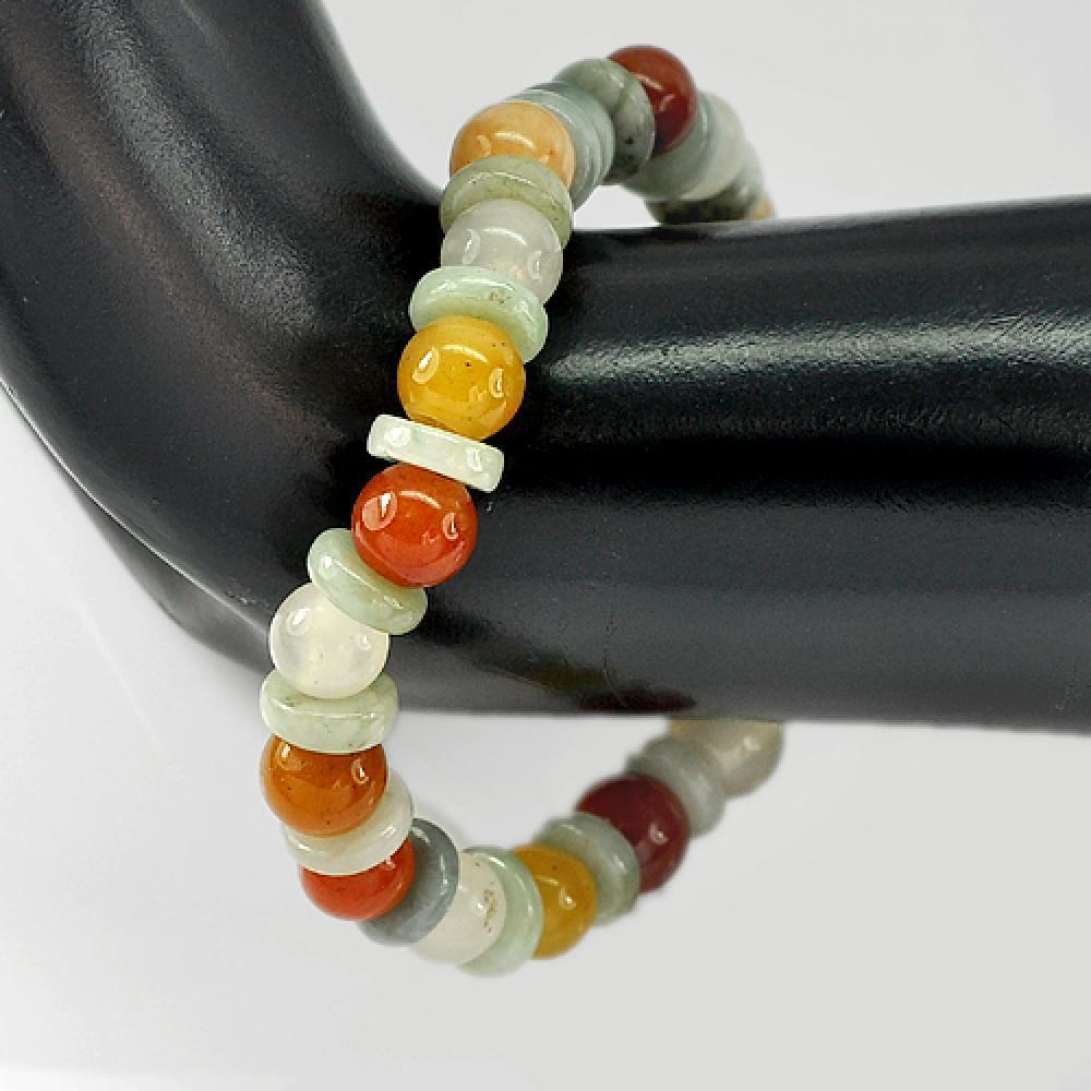 101.36 Ct. Good Natural Honey Jade Color Beads Bracelet Length 7 Inch.