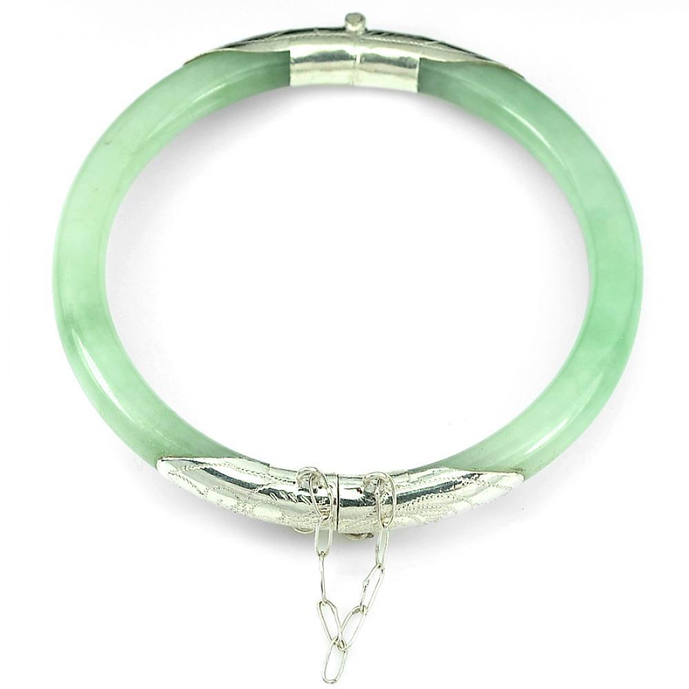 127.49 Ct. Charming Natural Green Jade Bangle with Real 925 Sterling Silver