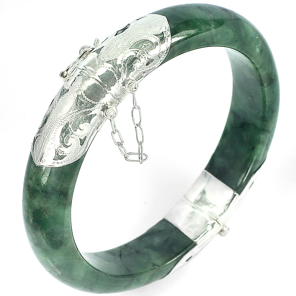 313.21 Ct.Natural Gemstone Green Jade Bangle Diameter 60 Mm.925 Sterling Silver