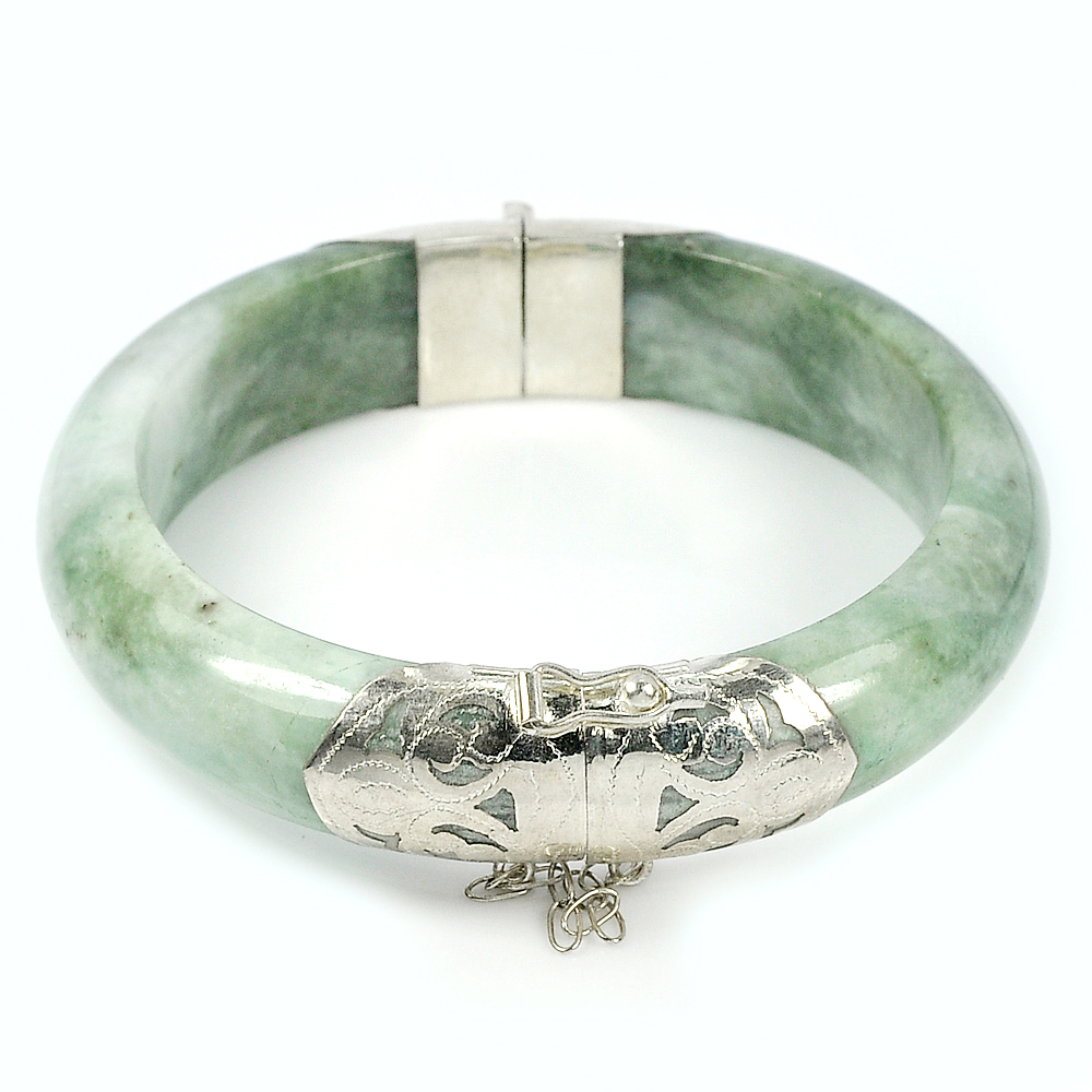 375 Ct. Natural Gemstone White Green Jade Bangle with Silver Diameter 60 mm.